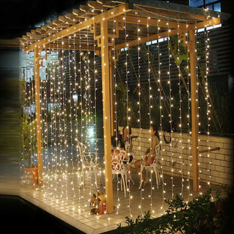 LED Icicle String Lights Garland Waterfall 4*3m 300LEDs Curtain Street Garland For Wedding Christmas Party Decor Strip