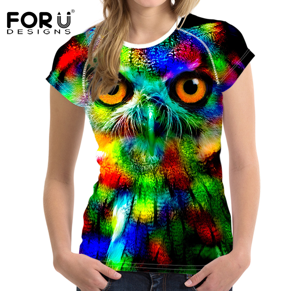 Design t shirt neon colors - Forudesigns Stylish Women Neon Owl Cat Pinted T Shirt Cool Cat Design Tops Novelty Lady Short