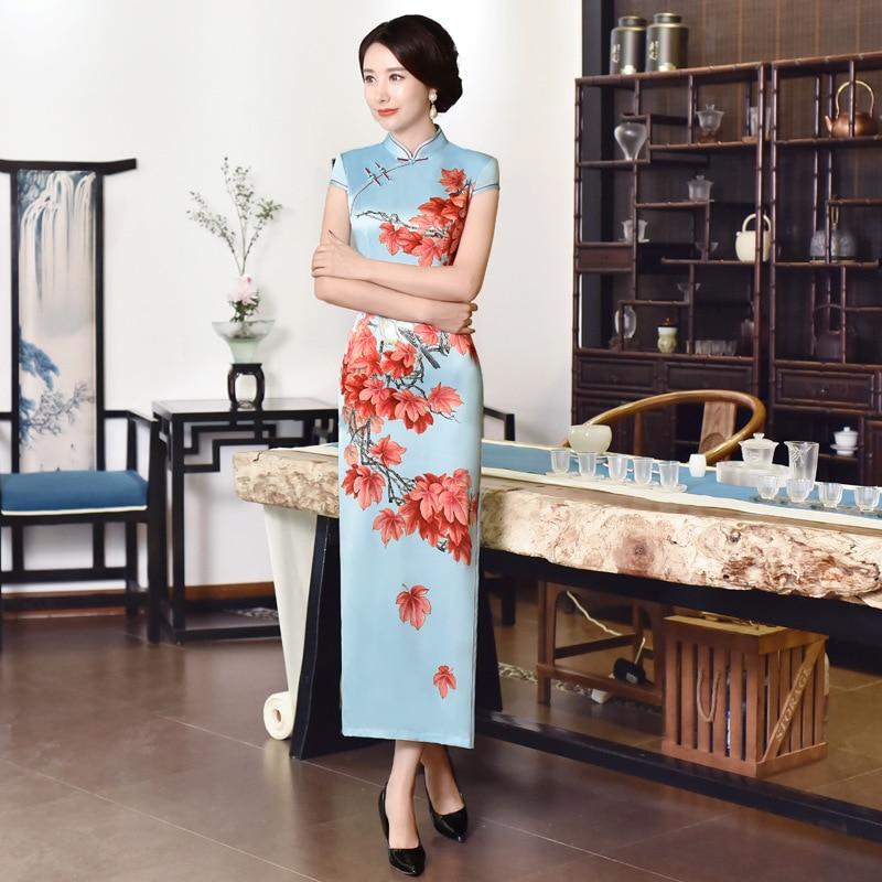 Chinese Traditional Women Mandarin Collar Qipao Sexy Satin Slim Dress Show Clothing Print Floral Cheongsam Large Size 3XL 4XL