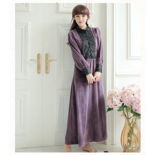 Retro Veludo Royal Estilo Princesa Camisola Lace da Longo-Luva de Inverno Mulheres Sleepwear Nobre Roxo Tornozelo-Comprimento Camisola