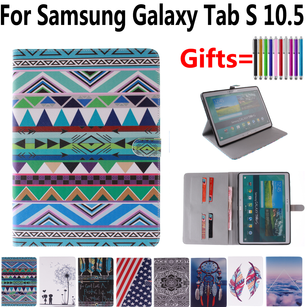 Tablet Shell Cover Case for Samsung Galaxy Tab S 10.5 T800 T805 Flag Flower Flip Magnet Smart Case for Samsung Tab S 10.5 + Pen original battery cover for samsung galaxy tab s 10 5 t800 t805 back cover battery door housing case replacement free shipping