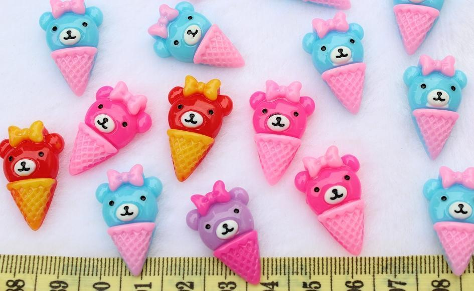 250 Pcs Kawaii Flatback Resin Mixed Cute Bear Ice Cream Deco Cabochons Wholesale Free Shipping 20mm Display