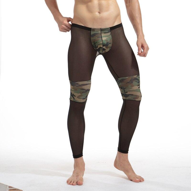 Men Mesh Long Johns Sexy Transparent Camouflage Man Thermal Underwear Polyester & Spandex Joggers Men Leggings Sleep Pants