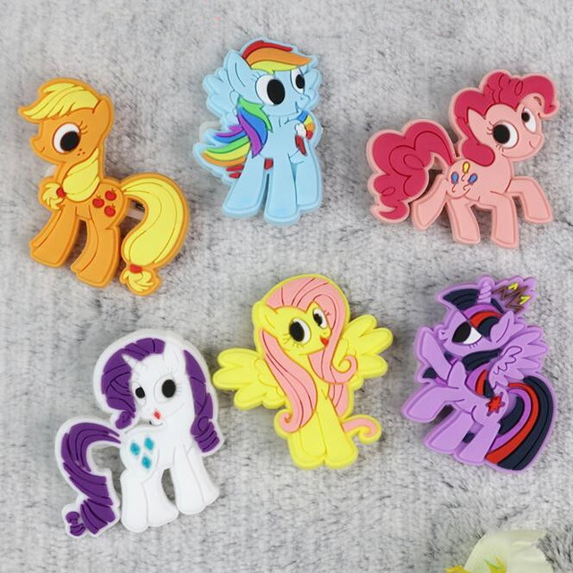 6 pcs lot my little pony brooch hose rubber pin badges cartoon