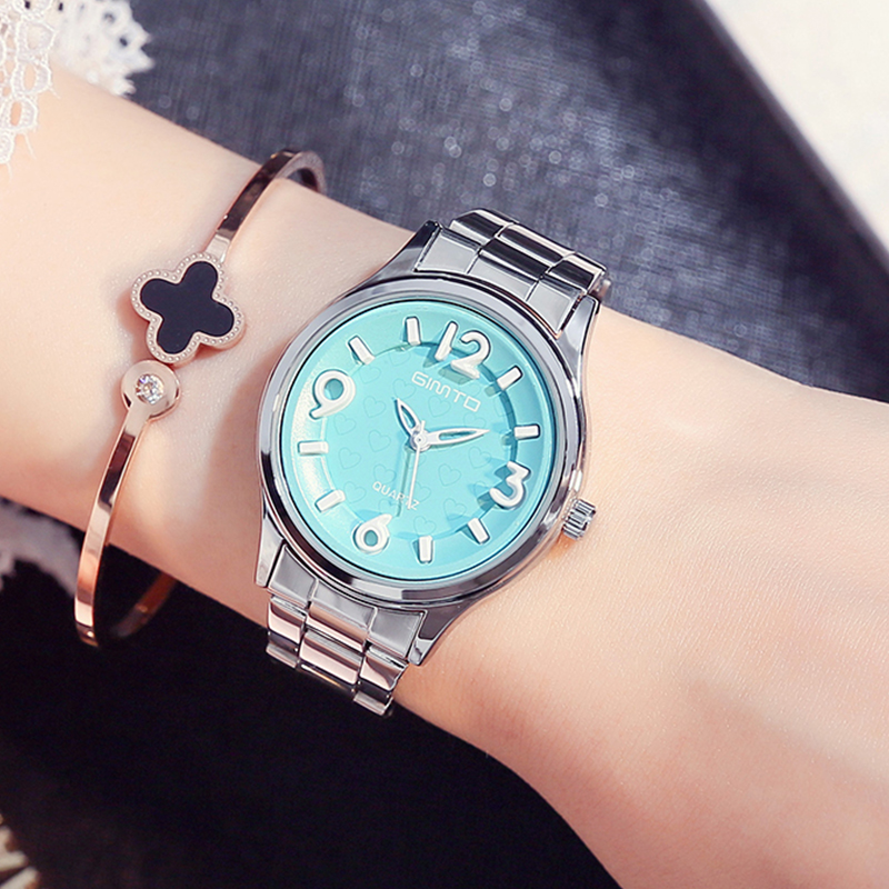 GIMTO Brand Women Watches Stainless Steel Luxury Bracelet Ladies Watch Clock Lovers Female Girl Dress Wristwatch Relogio Montre women men quartz silver watches onlyou brand luxury ladies dress watch steel wristwatches male female watch date clock 8877