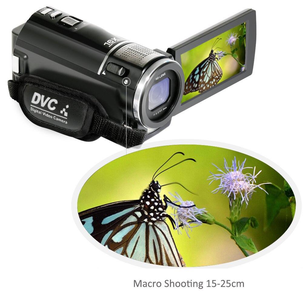 ORDRO caméra vidéo numérique HDV-F5 Portable 1080 P 30fps caméscope HD avec objectif grand Angle télécommande - 2