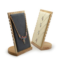 18x1.5x15cm Wood Necklace Display Holder For Store Wood Jewelry Display Stand Showcase Necklace Display Stand Storage H4033