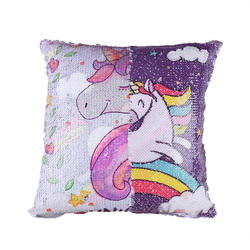 Animal Double Side Printed Sequins Pillow Case Reversible Unicorn Pattern Cushion Cover Pillow Sofa Waist Throw Cushion Cover