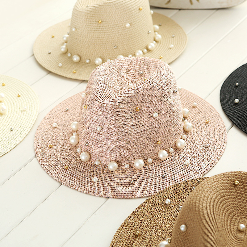 Perla británica del verano que rebordea plana sombrero de paja shading  señora moda playa sombrero del jazz en Sombreros de sol de Accesorios de  ropa en ... db5445996ae