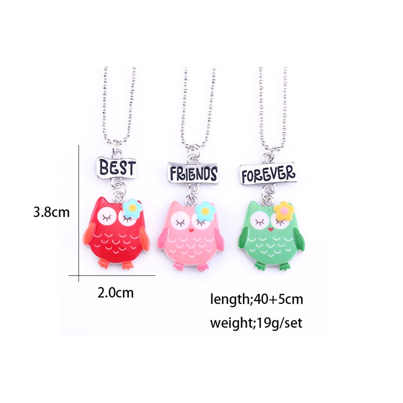 3pcs-Set-Friendship-Cute-Owl-Stereo-Imitation-BFF-Necklace-For-Children-Best-Friends-Forever-Kid-Jewelry