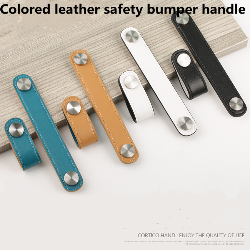 96mm 128mm white black Leather Safety children room furniture handle orange blue Leather drawer shoe cabinet
