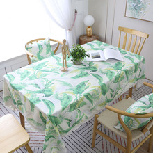 Countryside Leaf Green Plant Print Tablecloth Dustproof Thicken Rectangular Dining Table Cover Desk Cloth Home Decor Tafelkleed