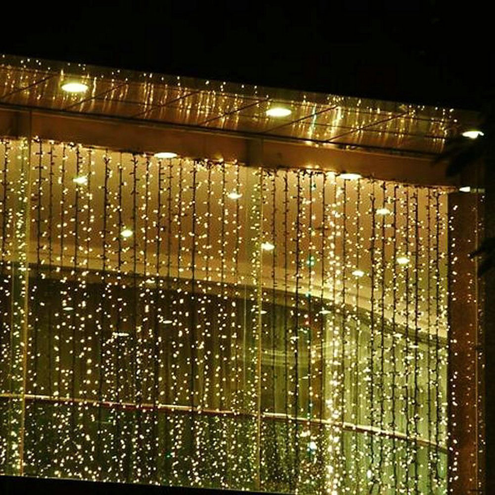 Christmas indoor window light decorations - 300 Led 3m X 3m Linkable Design Fairy String Curtains Light Ideal For Indoor Outdoor Home Garden Christmas Holiday Party Wedding