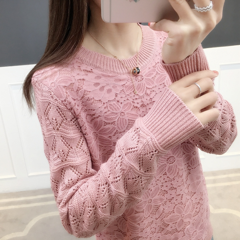 2019 Spring New Fashion Korean Version Round Collar Long Sleeves And O-Neck Lace Knitted Sweater