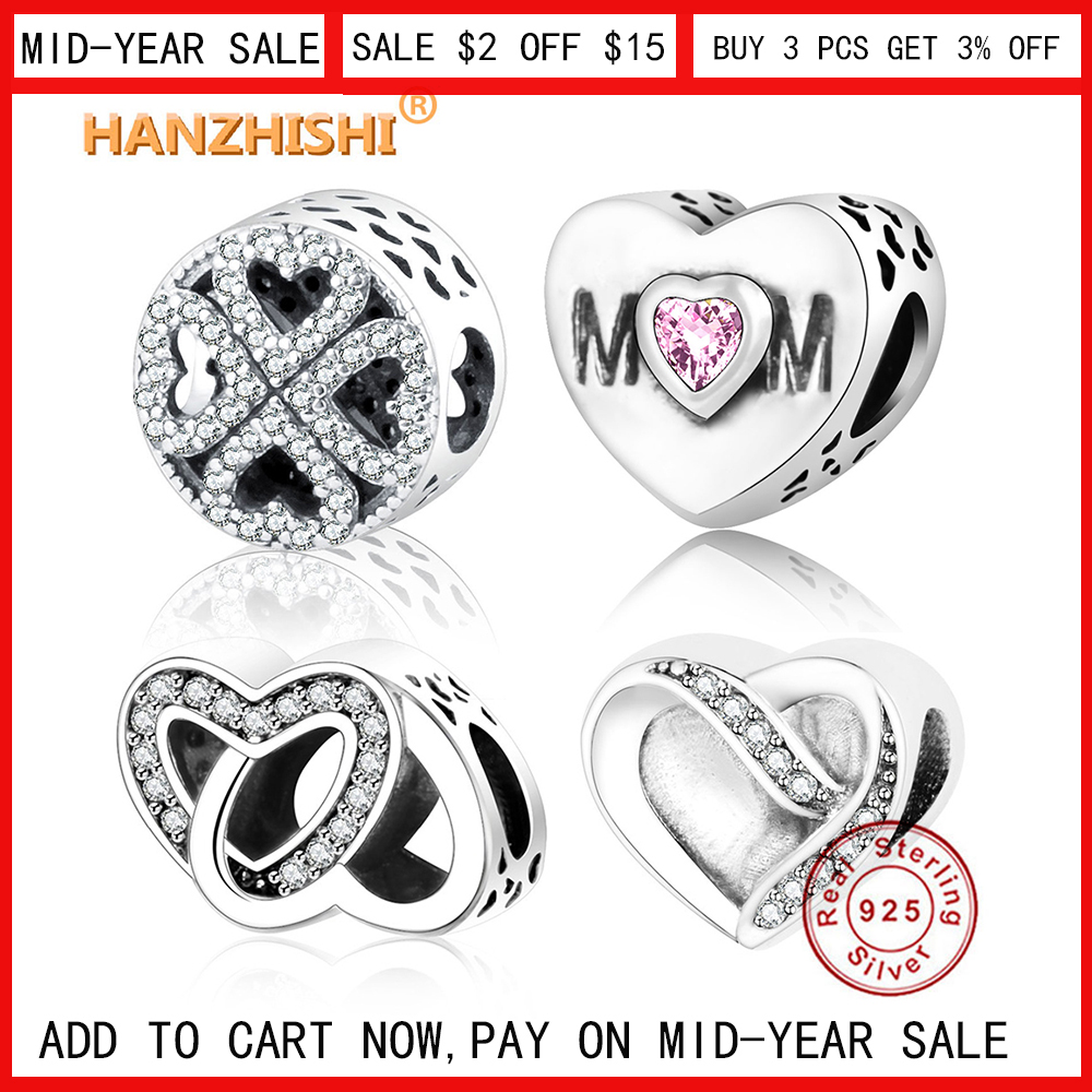 95ac38922 Classic Beads Love/Heart Charm Fit Original Pandora Charms Bracelet  Necklace 925 Sterling Silver Bead