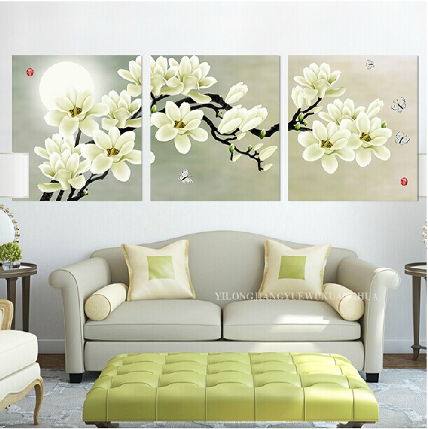 Canvas Painting Oil Painting Printed 3 Piecesset White Flower Art