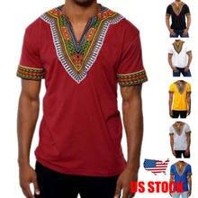 6eb87b27f4f 2018 Mens Hipster Hip Hop African Dashiki V Neck Elongated t- shirt Short  sleeve casual