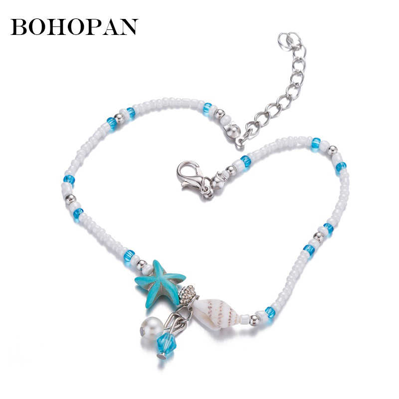 Women Shell Pearl Starfish Beads Anklet Female Adjustable Beach Anklet Alloy Foot Chain Bracelet Bohemia Jewelry Gift For Girl