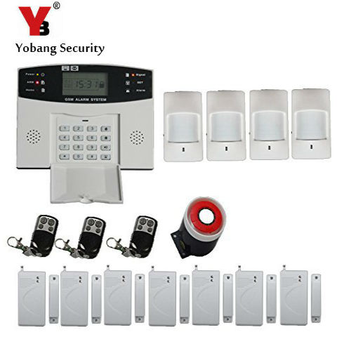 YoBang Security Russian Spanish FRENCH Italian Voice Home Security Wireless GSM Alarm System 433MHZ Gate Detector PIR Sensor.