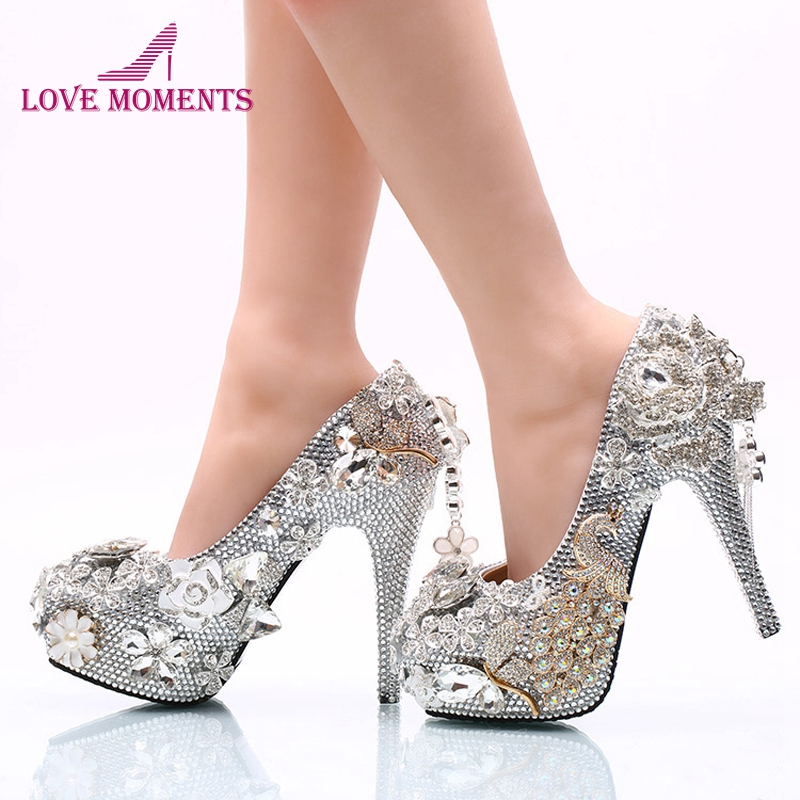 2018 Gorgeous Silver Rhinestone Wedding Shoes Rose Flower Crystal Wedding  Banquet Party Shoes Cinderella Prom Pumps 97307731f992