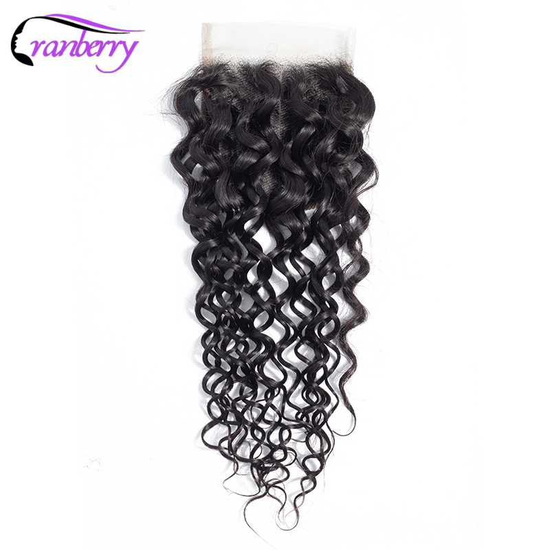 CRANBERRY Brazilian Remy Water Wave Closure Human Hair Closure Swiss Lace 130 Density Three Middle Free