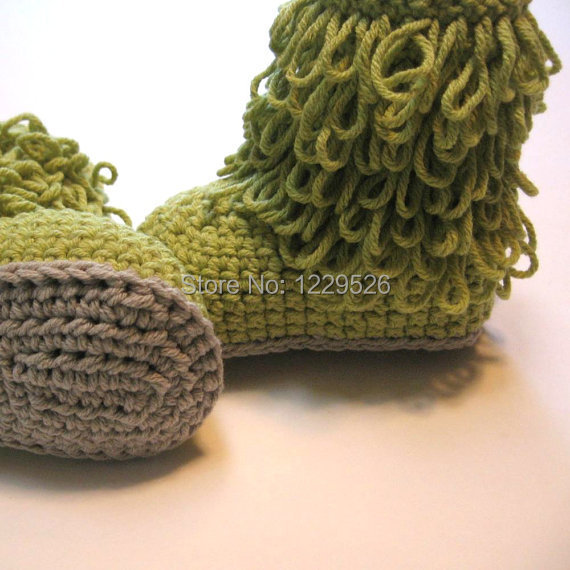 dddb20a5452 ▻Crochet baby boots green shoes - a193