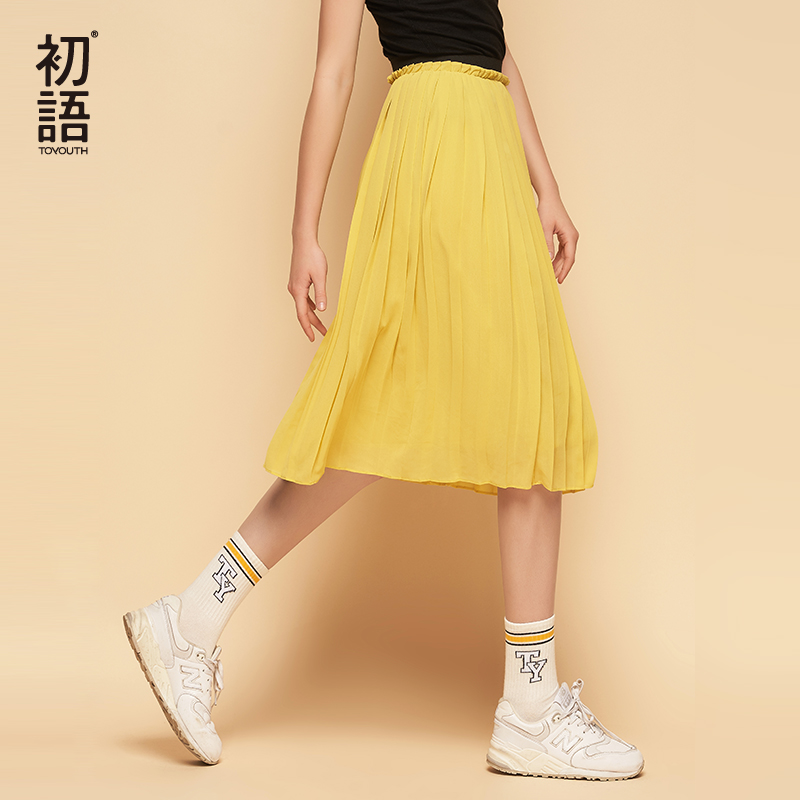Toyouth Chiffon Skirts Women High Elasticity Waist Pleated Long Summer Skirt Casual Faldas Mujer Solid Midi Saias|Skirts|   - AliExpress
