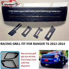 CITYCARAUTO top quality ABS black front grill grille trim fit for Ranger wildtrak T6 txl pickup ranger raptor grill 2012-2015