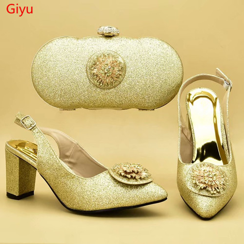 doershow gold Shoes and Bag To Match Italian Women Shoe and Bag To Match for Parties African Shoes and Bags Matching Set!SXD1-5