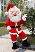Костюм Санта Клауса для взрослых, плюшевый костюм для папы, нарядная одежда, Рождественский косплей, реквизит для мужчин, пальто, брюки, пояс