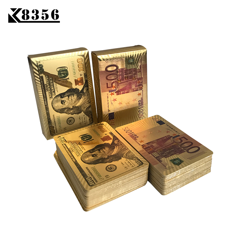 K8356 Gold Foil Playing Cards Poker Pards Gold Pokerstars A Deck Scrub Resistant Frosting Poker Dollar Euro Dragon Style