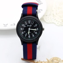 New arrived boy fashion sports colorful nylon casual child gift clock kids Lumin