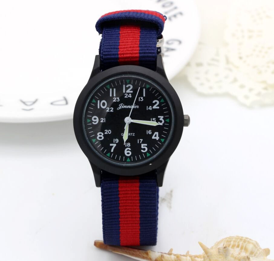 New Arrived Boy Fashion Sports Colorful Nylon Casual Child Gift Clock Kids Luminous Pointer Quartz Watch Girls Casual Watch