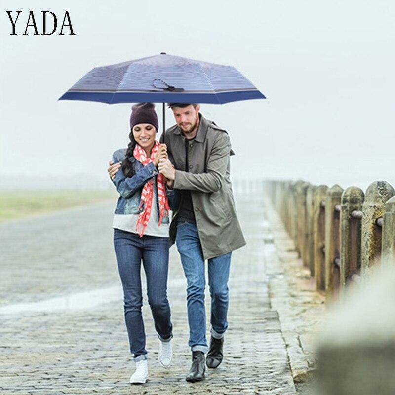 YADA Navy stripes High Quality Designer Retro Umbrella Women Sunny Rainy Umbrella For Womens Windproof Folding Umbrellas YS201 in Umbrellas from Home Garden