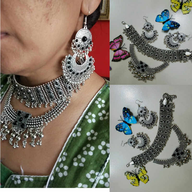 Pakistan Indian Kundan Chunky Choker Bead Bib Necklace Collar For Women MultiLayer Statement Maxi Earrings Afghan Gypsy Jewelry