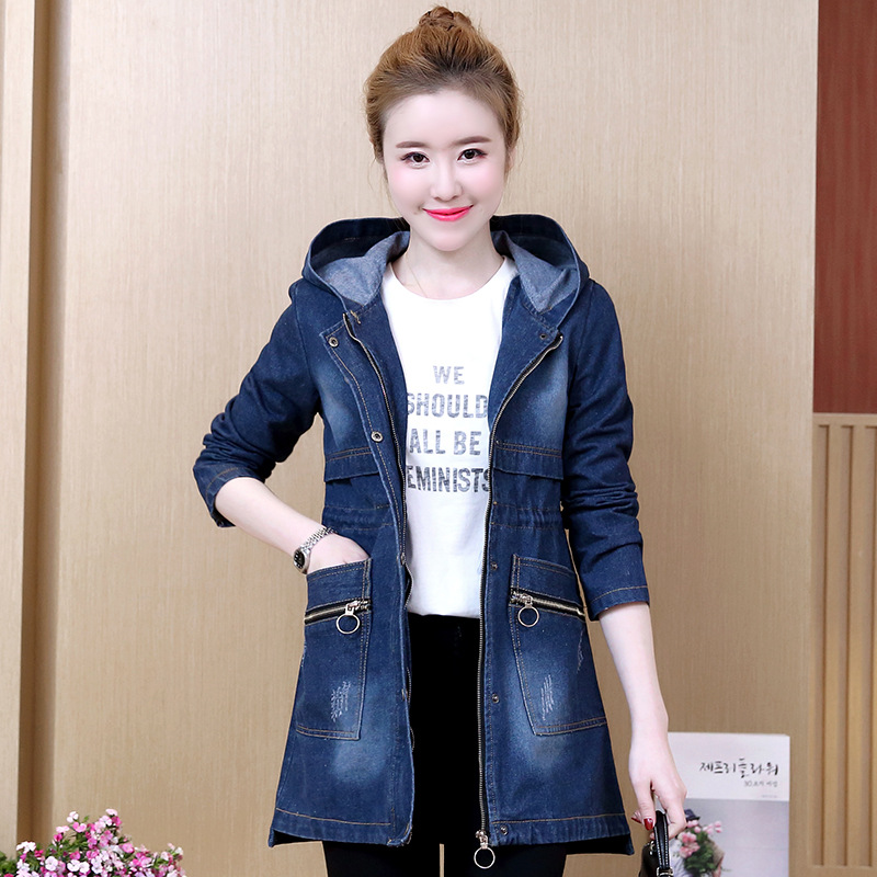 Plus Size Letter Zipper Button Pockets Long Hooded Denim Coats   Trench   Women Casual Fashion Office Street Outerwear Lady Clothing