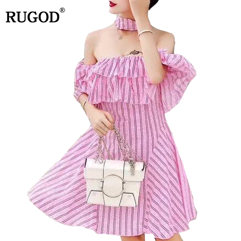 RUGOD 2018 New Arrival Spring Summer Casual Women Dress Sexy Female Slash neck Party Dress Short Sleeve Knitted Femme Robe