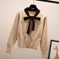 spring summer new 2019 women sweaters knitted solid bow slim solid thin lady elegant cardigans female outwear coat tops