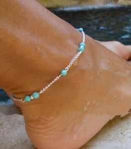 2017 תכשיטי קיץ הילדה עבודת יד חרוזים אבן ירוק עכס רגלי רגל צמיד שרשרת רגל קרסול צמיד נשים רגל