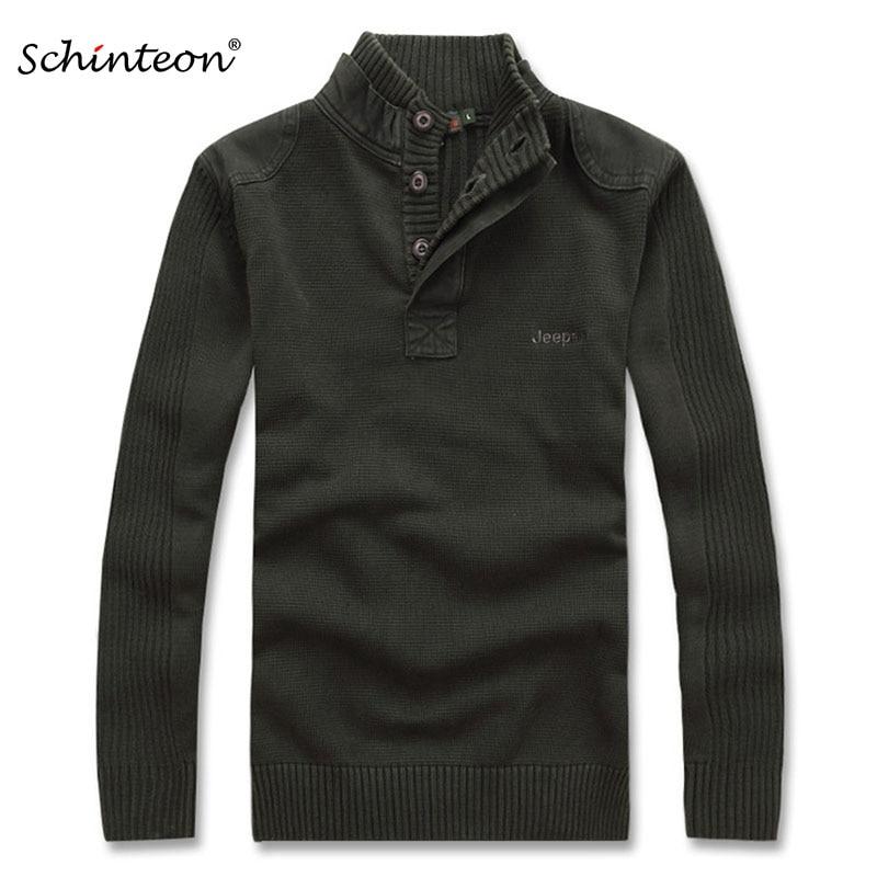 Schinteon Men Warm Sweater Pullover Coats Turtleneck Purple Black Army Green Winter Wool Primer Shirt Slim