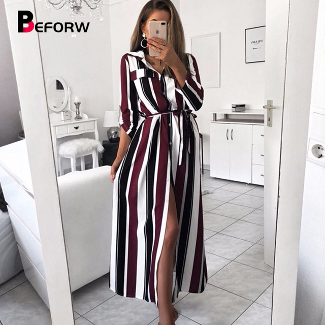 BEFORW 2019 Office Lady Turn-Down Collar Button Lace Up Long Shirt Dress Women Autumn Spring Long Sleeve Stripe Maxi Dresses