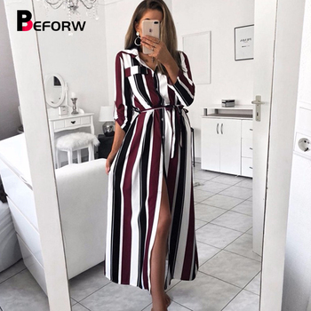 fb2636915880 BEFORW 2019 Oficina señora Turn-Down Collar botón encaje Camisa larga  Vestido Mujer otoño primavera manga larga rayas vestidos vestidos Maxi