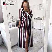 3677d31172 ... długa sukienka koszulowa kobiet jesień wiosna z długim rękawem Stripe  Maxi sukienki. BEFORW 2019 Office Lady Turn Down Collar Button Lace Up Long  Shirt ...