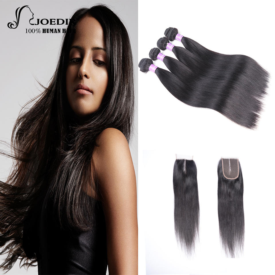 Joedir Straight Hair Malaysian Human Hair Bundles With Closure 4 Bundles With Closure Natural Color Non Remy Hair Extensions