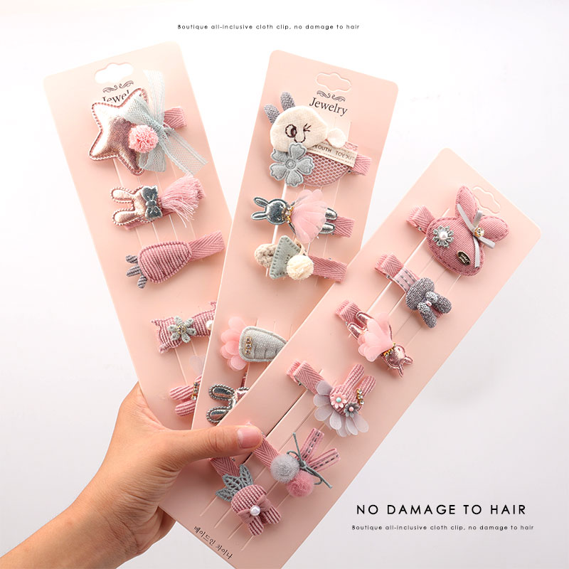 Children's Boutique All-inclusive Cloth Clip Does Not Hurt Hair Girl Pink Hair Accessory Cute   Headwear   Cartoon Hair Clip