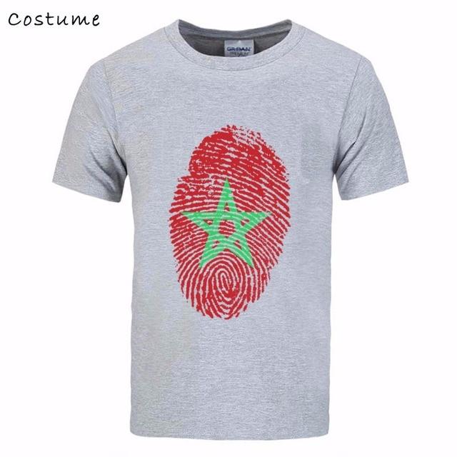 Maroc Drapeau D'empreintes Digitales Hommes de T-Shirt 2018 Nouveau mâle T  Chemises