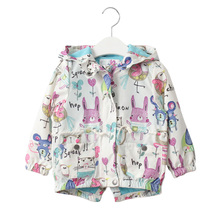 New 2-7T Girls Coats and Jackets Kids 2016 Spring Brand Children for Clothes Cartoon Hooded