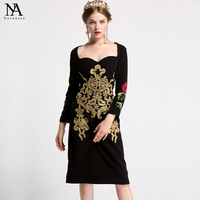 New Arrival 2017 Women S Sweathear Neckline Sequined Embroidery Rosed Elegant Sheath Little Black Runway Dresses