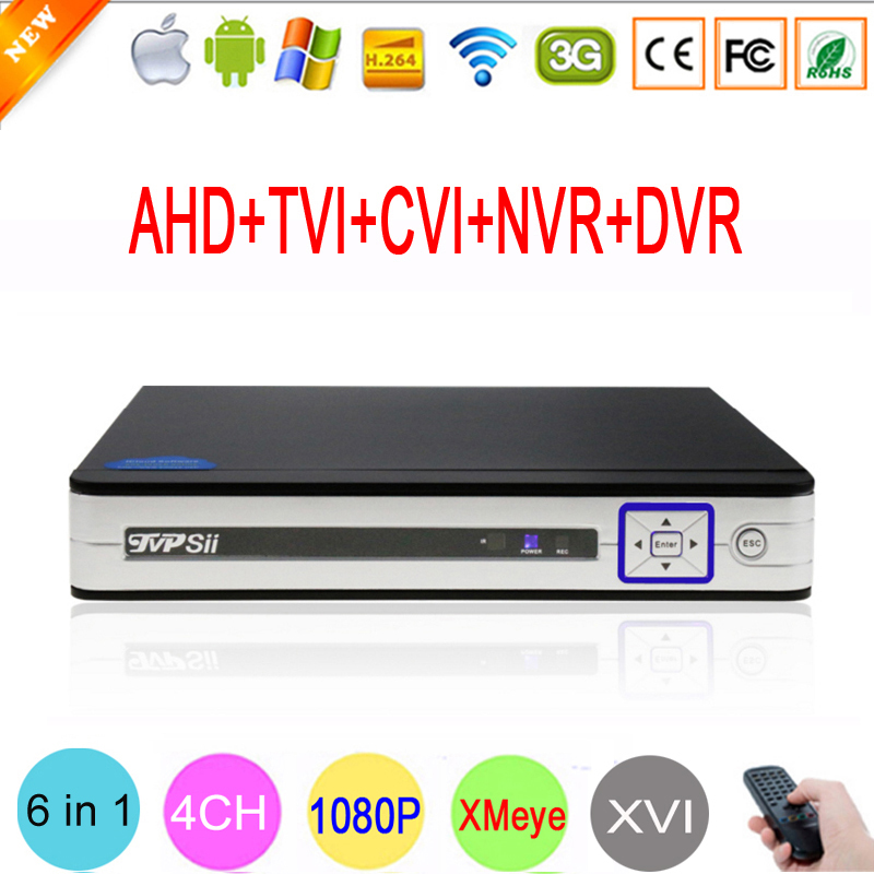 Hi3520D Silver White Panel 4 Channel 4CH 1080P 2MP 5 in 1 Coaxial Hybrid Onvif XVI NVR TVI CVI AHD CCTV DVR Free Shipping silver panel hi3521a 5 in 1 xmeye 4 channel 4ch 1080p 2mp 25fps realtime hybrid coaxial nvr tvi cvi ahd cctv dvr free shipping