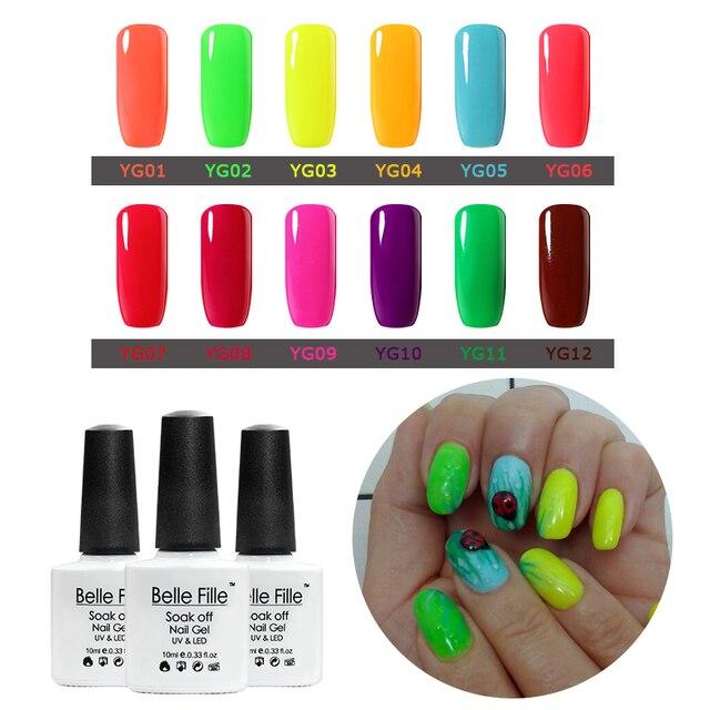 Belle fille UV Uñas de gel colores neón Uñas de gel colorido ...